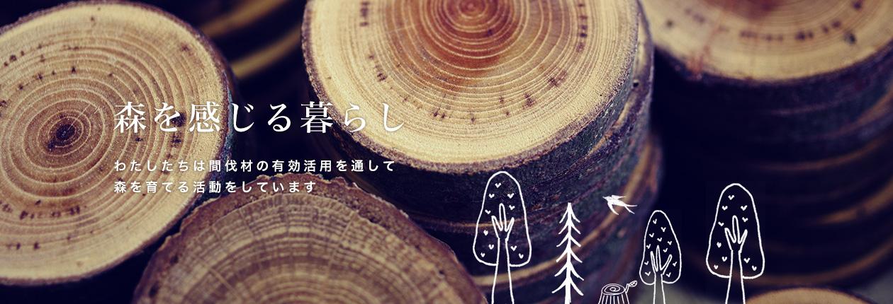 木を感じる暮らし わたしたちは間伐材の有効活用を通して森を育てる活動をしています。