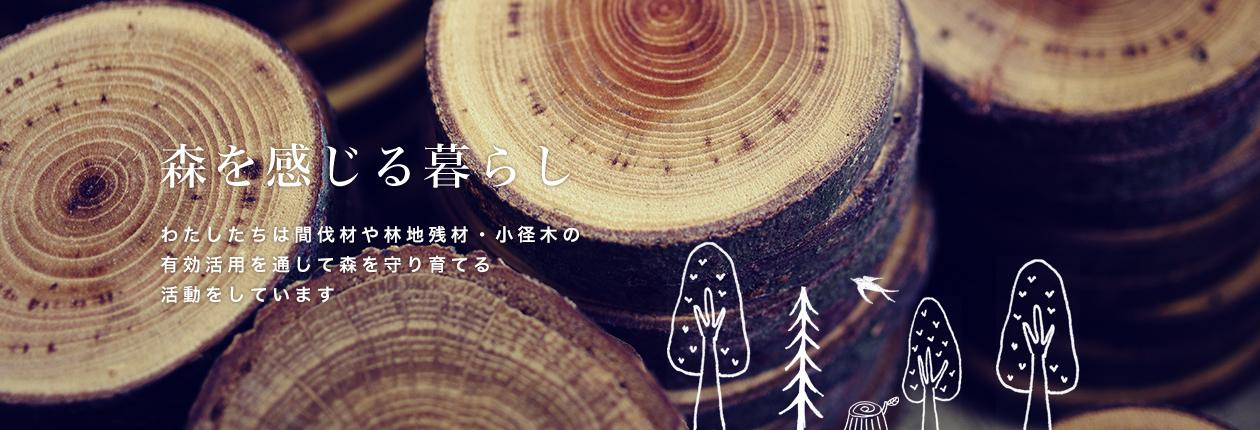 わたしたちは間伐材や林地残材・小径木の有効活用を通して森を守り育てる活動をしています
